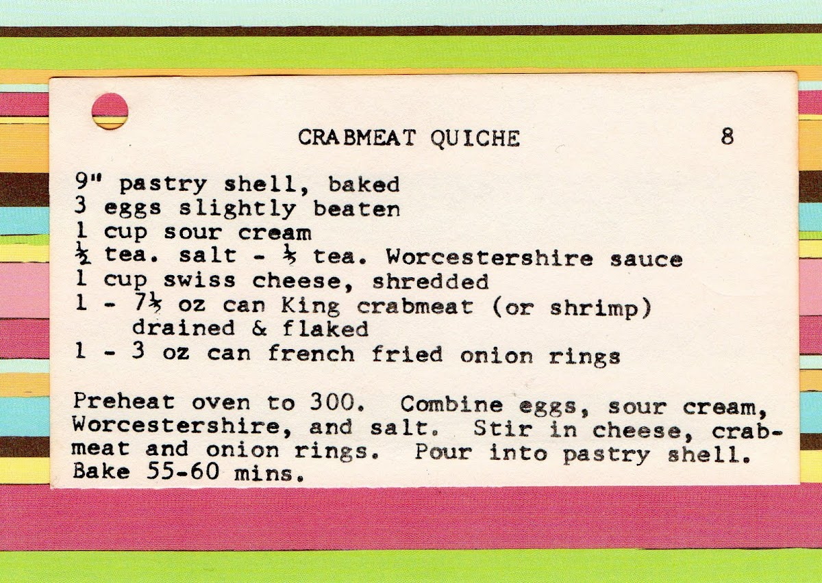 Crabmeat Quiche (quick recipe)