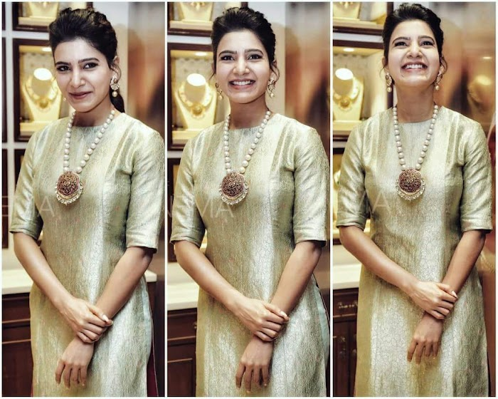 Recent Beautiful Photos Of South Indian Actress Samantha in NAC Jewellery Opening Ceremony-Latest HD Images
