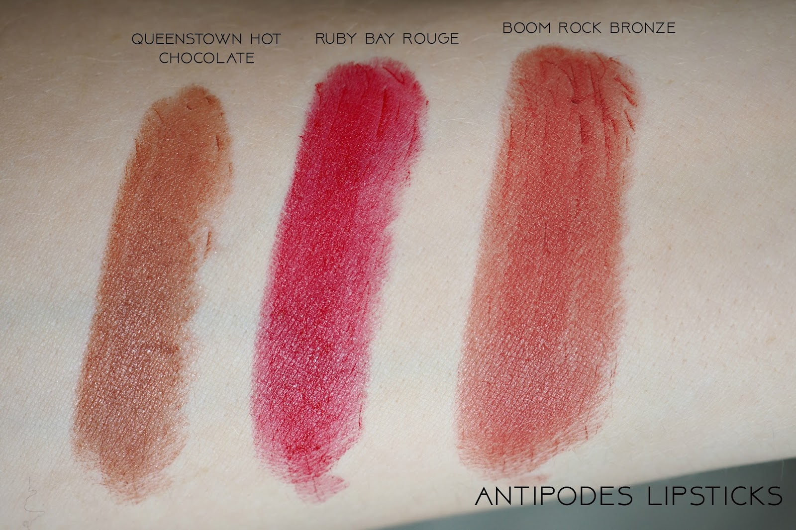 Swatches of Antipodes lipsticks in shades Queentown Hot Chocolate, Boom Rock Bronze and Ruby Bay Rouge.