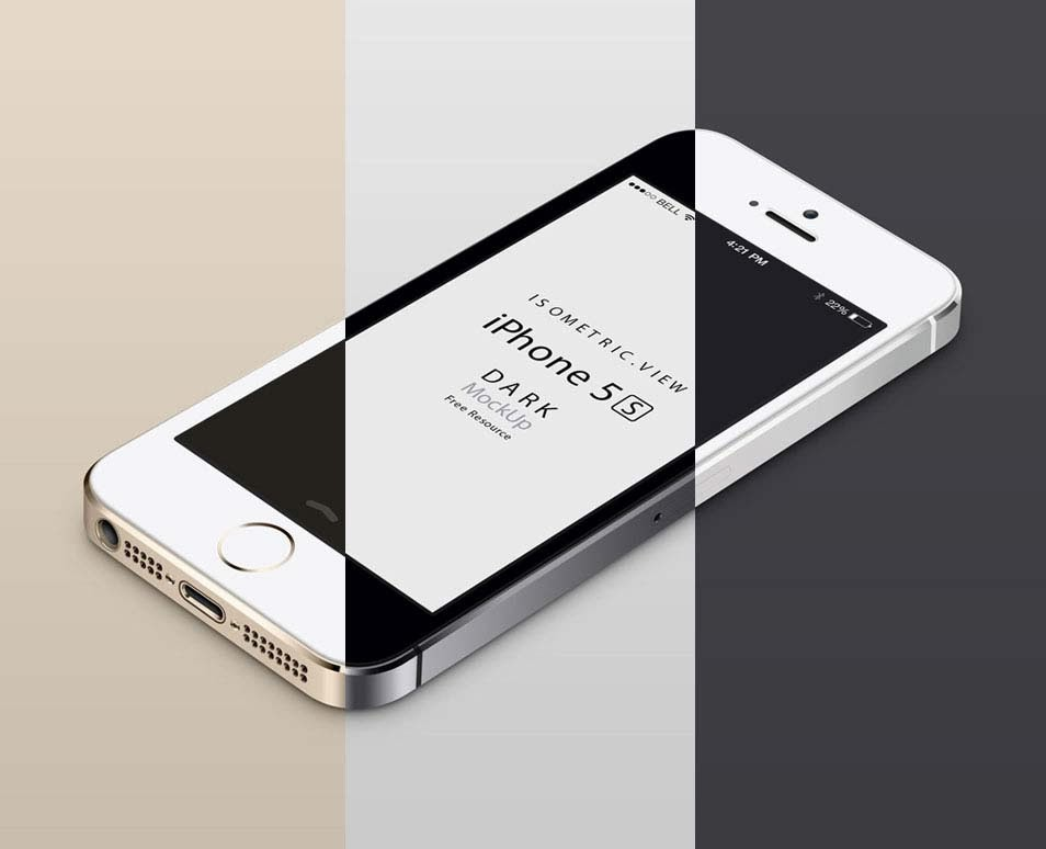 Perspective iPhone 5S Mockup Design
