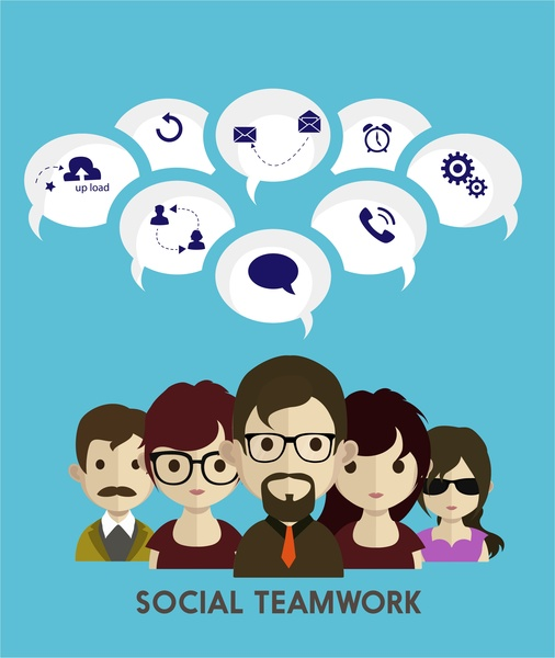 Social teamwork concept infographic human and interfaces design Free vector