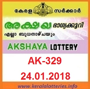 AKSHAYA (AK-329) LOTTERY RESULT ON JANUARY 24, 2018
