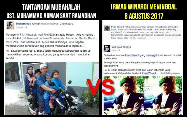Irwan Winardi, Liberal Korban Mubahalah di Bulan Ramadhan
