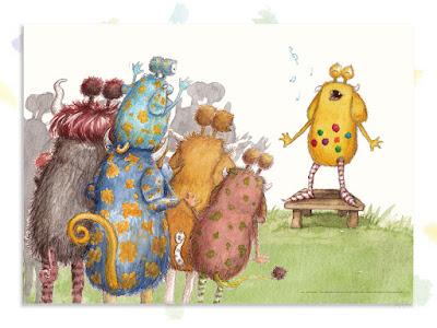 Kinderbuchillustration, Monster, niedlich, Lieder singen, Pumpf, Loni lacht!, Kinderbuch, Glück, Resilienz, glücklich sein, Kindergarten, Vorschule