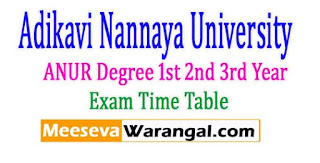 Adikavi Nannaya University (ANUR) Degree 2nd 3rd Year Exam Time Table 2017
