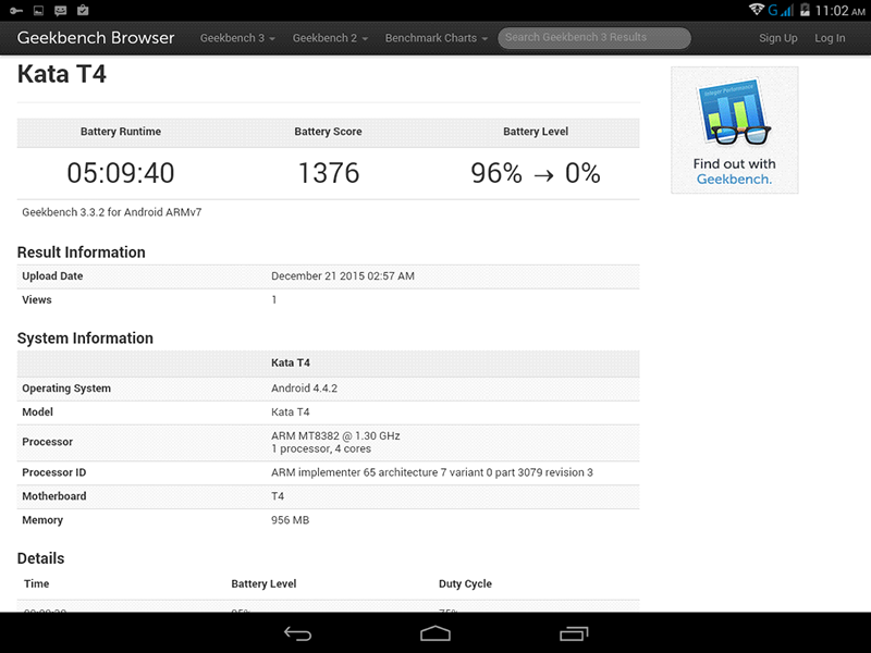 Battery life of Kata T4 tablet