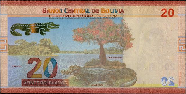 Bolivian Currency 20 Bolivianos banknote 2018 Black Caiman