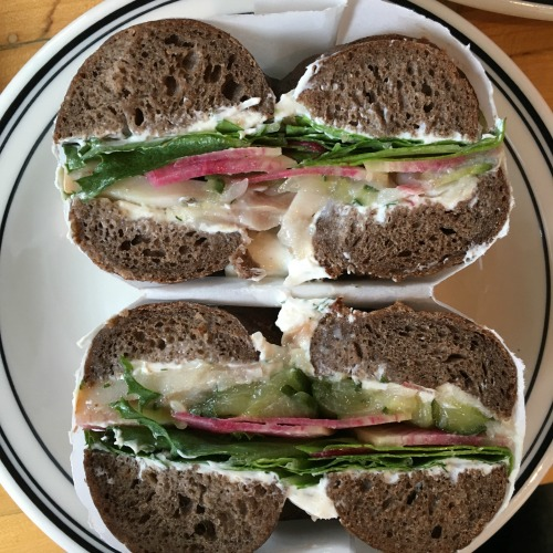 Mamaleh's Cambridge Jewish deli smoked fish bagel sandwich
