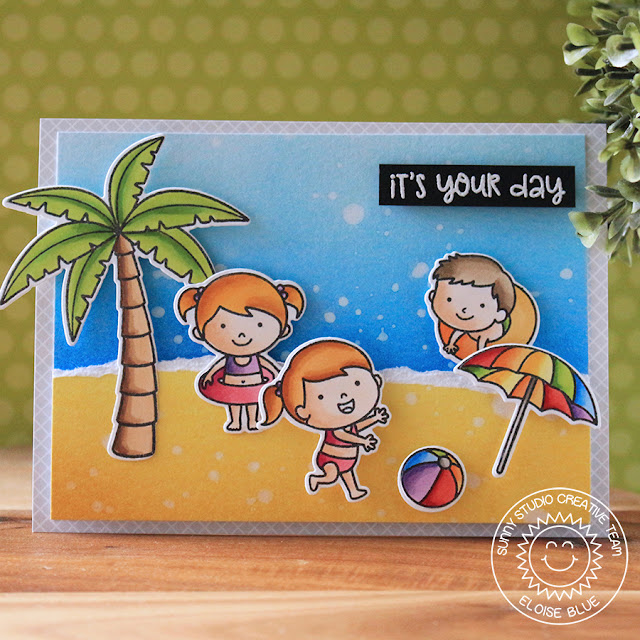 Sunny Studio Stamps: Beach Babies Island Getaway Beach Scene Card by Eloise Blue