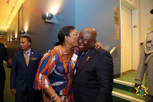 Checkout Photo As Ghana's First Lady Plant Kisses On Nana Addo's Cheek at UN