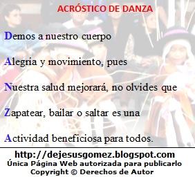 Imagen del acróstico de la palabra danza con imagen de fondo de Jesus Gómez