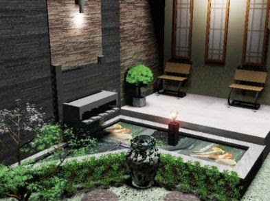 taman gemericik dalam rumah minimalis