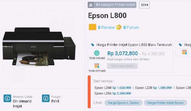 Harga Baru Printer Epson L800 Mei 2017