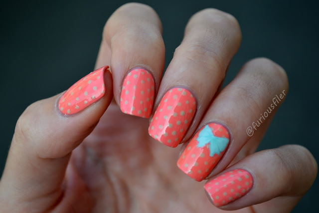 polka dots bow stamp decal cute nails inc.