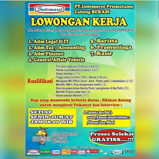 Info Lowongan Kerja Indomart Cabang Bekasi 2018 khususnya bagi anda seorang laki laki dan perempuan dengan ijazah minimal SMA/SMK 2018 Bekasi dan Sekitarnya. Adminisrtation Legal Administration Tax/Accounting Administration Finance General Affair Vehicle Barista Paramuniaga Kasir