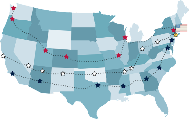 3 routes (Red, White, Blue) across America for the United Relay