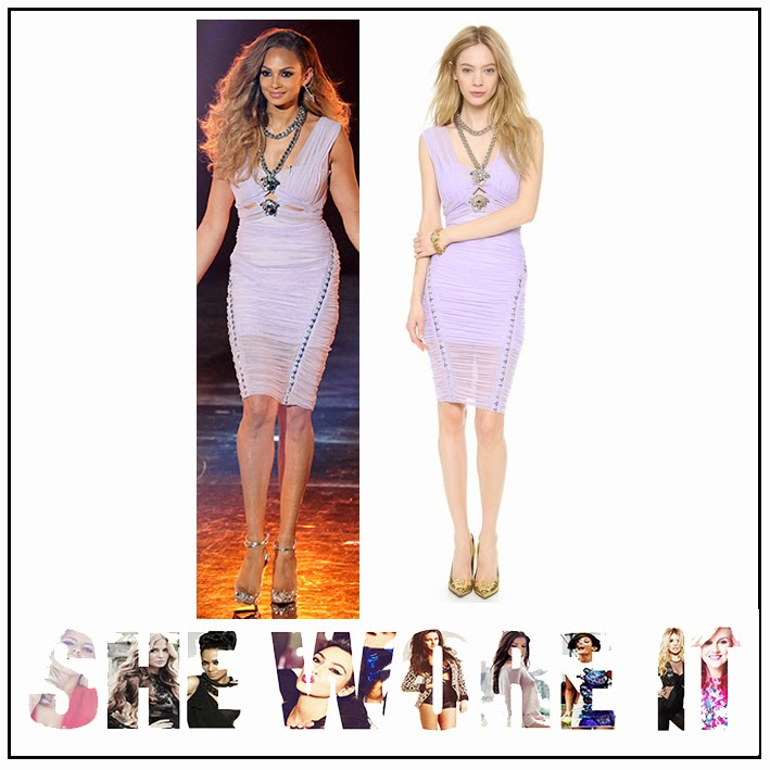 Alesha Dixon, Versace, Criss Cross, Medusa, Lilac, Sleeveless, Dress, Ruched, Mesh, Cut-out, Detail, V-Neckline, Chain Embellishment, Britain's Got Talent,