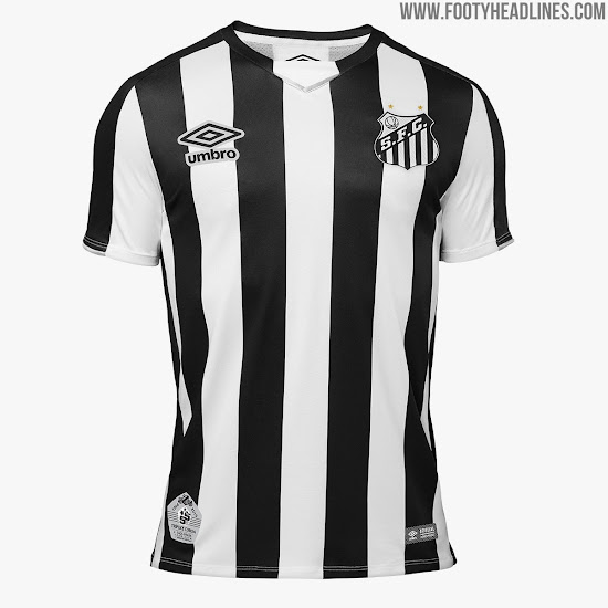 7b9e07b1214 This is the Santos 2019 away shirt by Umbro. The Santos FC 2019 away jersey  is black and white striped ...