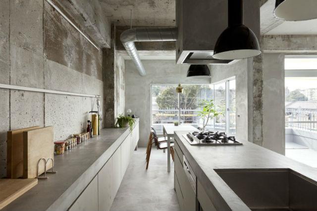 suelos y paredes de microcemento en cocina