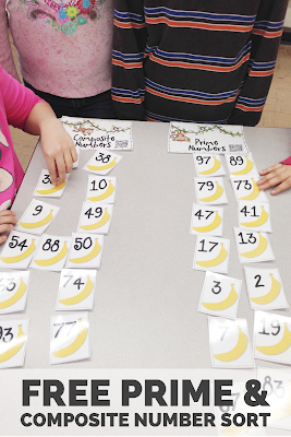 FREE Prime and Composite Number Sort. Find this and tons of other free ideas and activities for using QR codes in the elementary classroom at the iTeach 1:1 blog. You'll find freebies for using QR codes in math, reading, for scavenger hunts, self-checking task cards, listening centers and more!