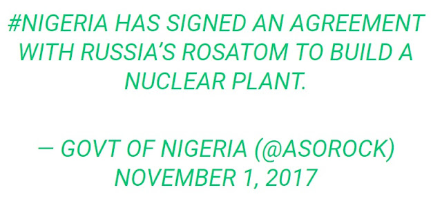 Russia signs deal with Nigeria to Build a Nuclear Power Plant