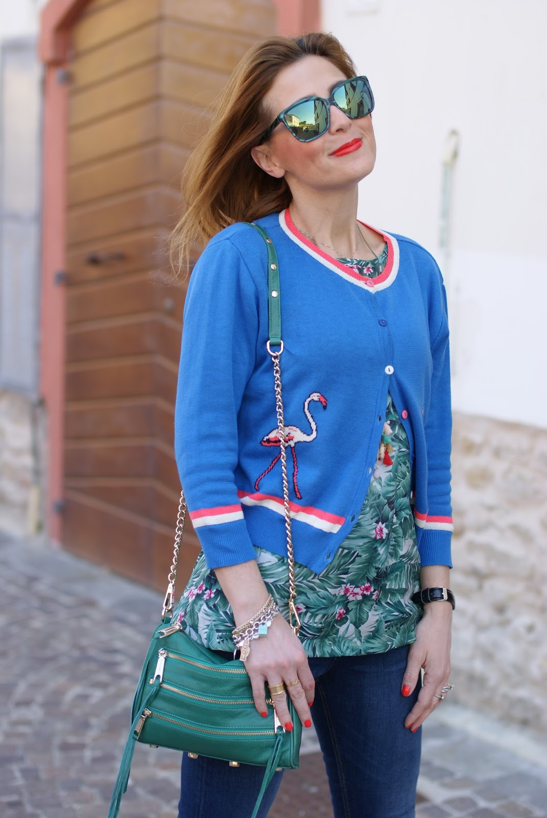 Bryonyandco flamingo cardigan on Fashion and Cookies fashion blog, fashion blogger style