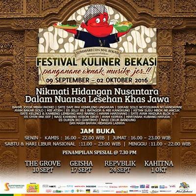 """Festifal Kuliner bekasi dengan tema """" panganan wenak musike jos..!! """" persembahan dari summarecon mall bekasi  tanggal 09 september - 02 oktober 2016"""
