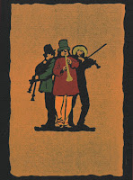 A woodcut image of three musicians standing back to back in a rough circle. The background  is a chalky orange color while the foremost musician, playing a long flute or horn, is dressed in a red shirt, green hat, and bright orange pants. To his right is a bagpipe player wearing a green tunic. To his left, a violin player with a yellow broad-brimmed hat.