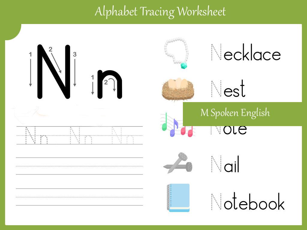 M Spoken English: Alphabet Worksheet N