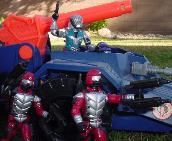 1987 Cobra Commander, 1987 Techno Viper, 1993 Detonator, 1991 Crimson Guard Immortal