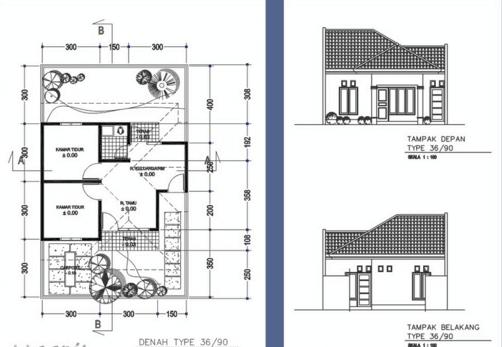 Denah Rumah Minimalis Type 36/90