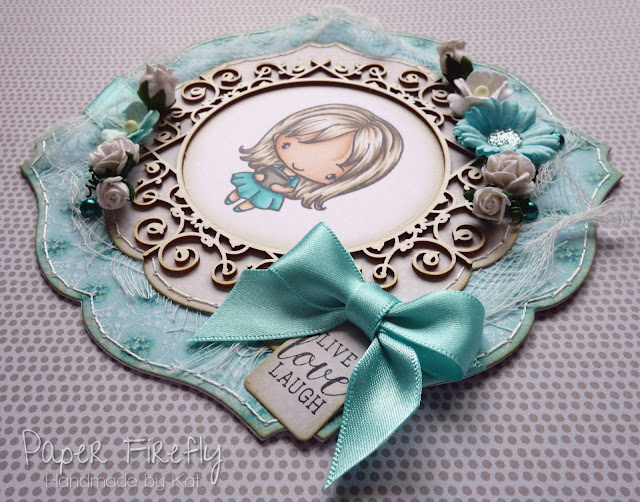 Shabby chic card using girl with coffee (image from The Greeting Farm) and embellishments from The Ribbon Girl