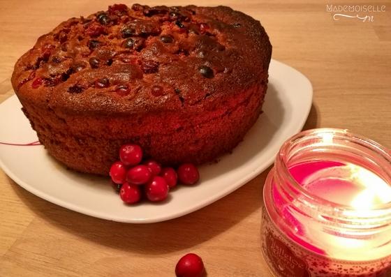 Recette gâteau chocolat épices cramberries