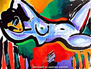 Thinking of Picasso, original painting by artist Martina Shapiro