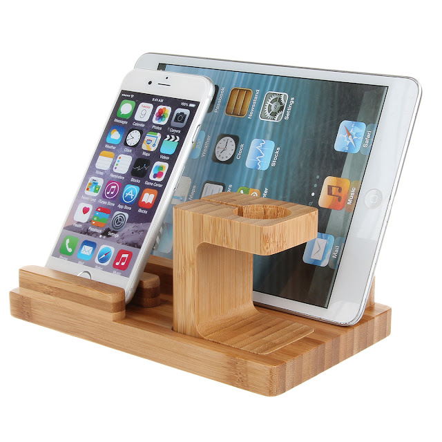 All-in-One Bamboo Combo Charging Dock Cradle Holder for Apple Watch/ iPhone 6 / 6 Plus / iPad Mini