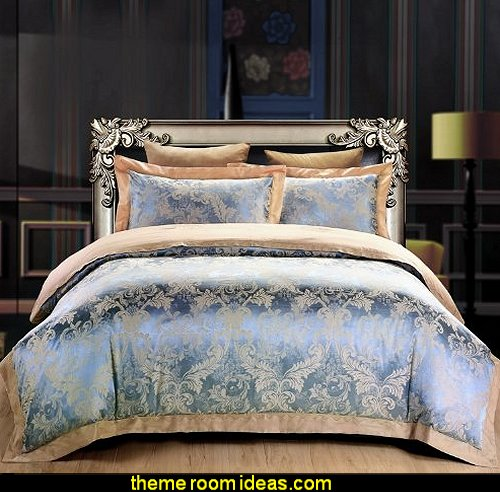 Luxury Brand Satin Cotton Bedding Set,Elegant European Jacquard Duvet Covers Delicate Embroidery Bed Sets