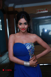 Actress Pooja Sree Pictures in Blue Long Dress at Chocolate Boy Friendship Day Event  0006