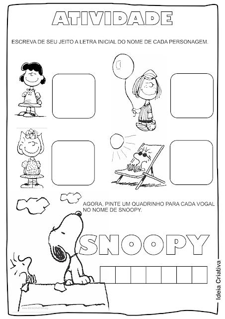 Atividades para imprimir letra inicial Snoopy