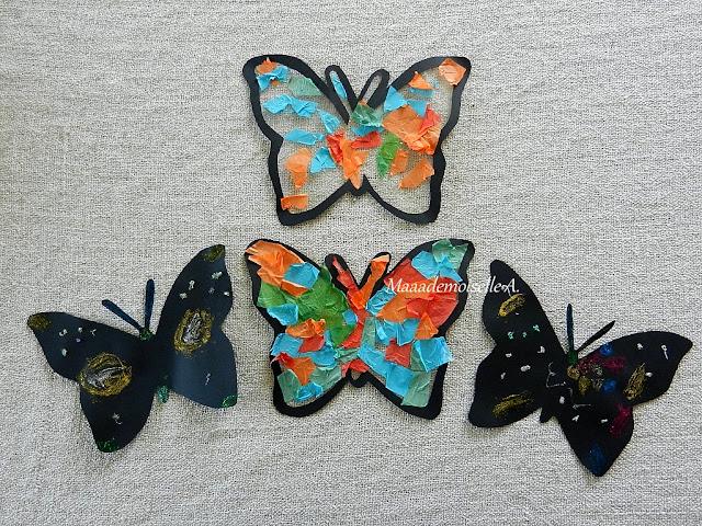 || Nos activités sur les papillons : Colle paillettée sur papier noir