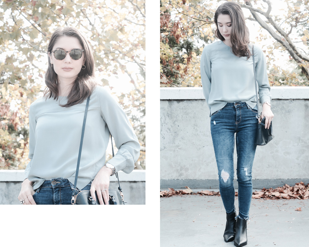 Everlane Silk Long Sleeve Blouse Review Photos Sizing Fit Petite Pale Sage Stone Black