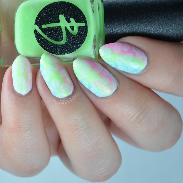 neon gradient nail art with tropical flowers