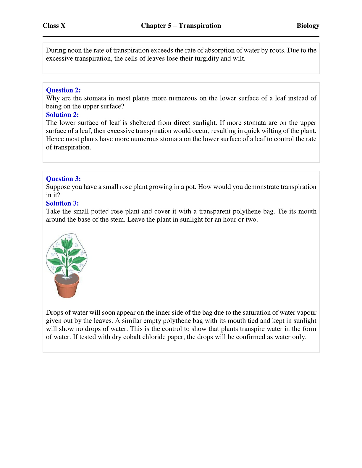 Consise Biology Class 10 Chapter 5 Transpiration Exercise Solutions