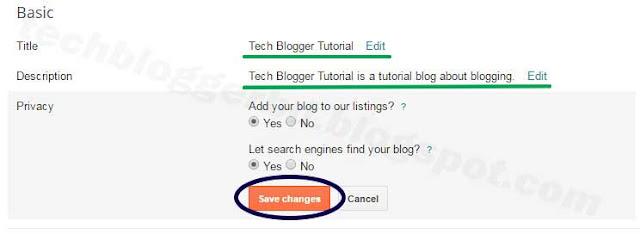 Blogger title and description change