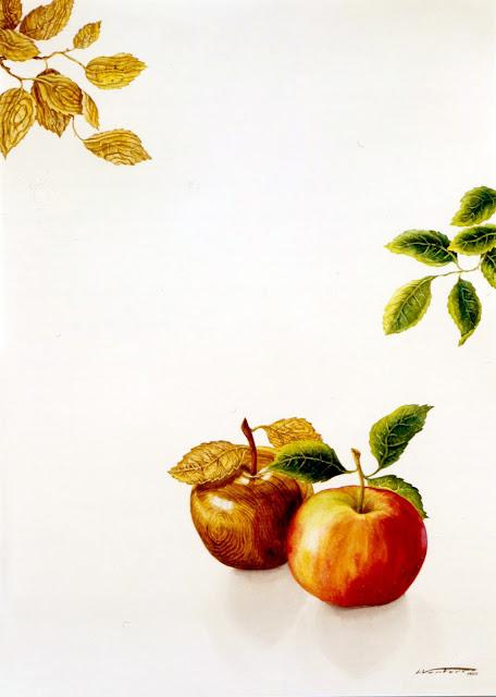 Acuarela surrealista manzanas pintor catalán Isidro Ventura