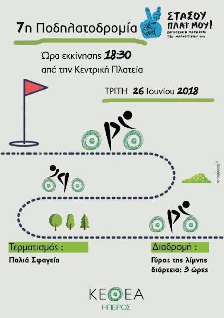 Τρίτη 26 Ιουνίου 2018 Παγκόσμια Ημέρα Κατά Των Ναρκωτικών 7η Ποδηλατοδρομία Του ΚΕΘΕΑ ΗΠΕΙΡΟΣ