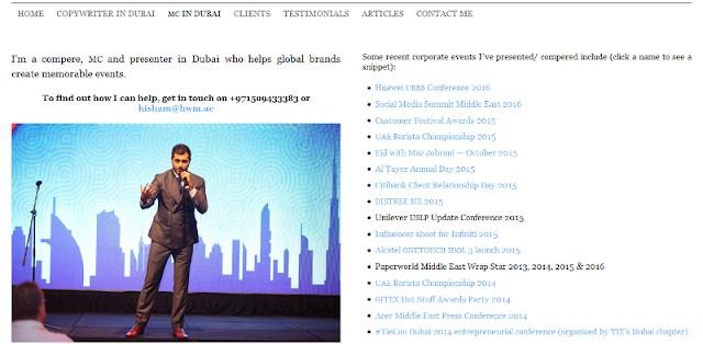 trusted event presenter and copywriter in Dubai