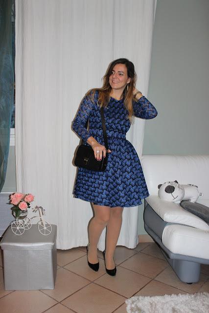 look du jour robe maje bleue royani les petites bulles de ma vie