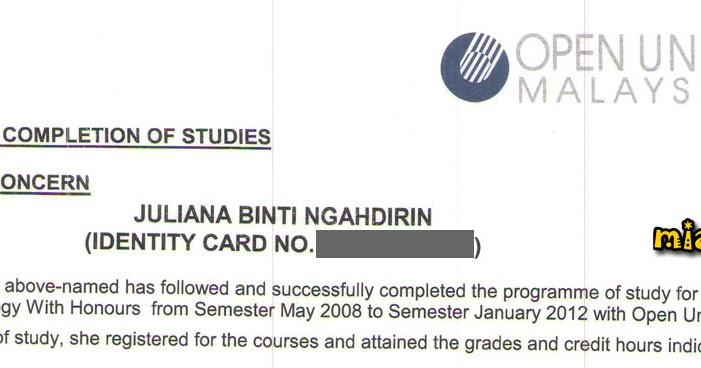 Terima Surat Pengesahan Tamat Pengajian Di Open University Malaysia Mia Liana