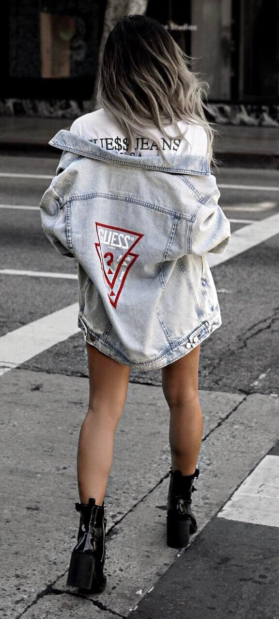 street style obsession: tee + denim jacket + boots