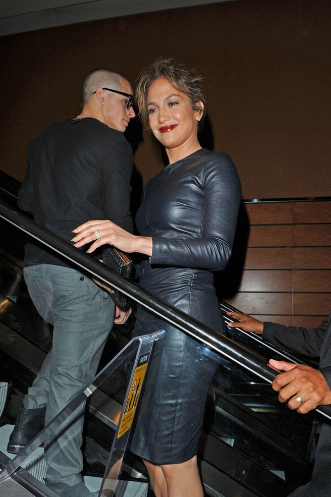Leather Dress And Ruby Lips Jennifer Lopez Spotted In New